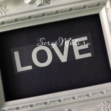 Надпись из термотрансфера LOVE, пленка белая матовая, размер общий 10х2,8 см., TN000806