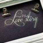 Надпись из термотрансфера Love story, плёнка зеркальное серебро, размер общий 9х4,5см., TN000834