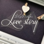 Надпись из термотрансфера Love story, плёнка белая матовая, размер общий 9х4,5см., TN000835