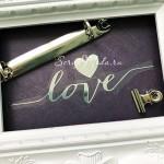Надпись из термотрансфера Love+сердечко, плёнка зеркальное серебро, размер общий 14х4,5см., TN000836