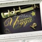 Надпись из термотрансфера В ожидании Чуда+звездочка, плёнка зеркальное золото, размер общий 10,5х4,8см., TN000844