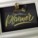 Надпись из термотрансфераPlanner, пленка зеркальное золото, размер общий 105x50мм. TN000881