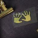 Рисунок из термотрансфера Детские ручкии, пленка зеркальное золото, размер общий 35х20мм, TN000886