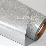 Термотрансферная пленка Silver, с фактурным эффектом металлических искрящихся блесток, размер 25х25см., TR000014