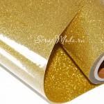 Термотрансферная пленка Gold, с фактурным эффектом металлических искрящихся блесток, размер 24х50см.,  TR000022