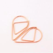 Скрепка Капля, металлизированная, розовое золото, 15х25 мм., цена за 1 шт., DA000547