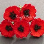 Мак красный на проволоке с черными матовыми тычинками, 20 мм, цена за 1 шт., UC000106