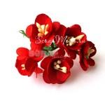 Цветы Вишни с тычинками, цвет:красный, размер:25 мм., 5 шт., UC000171