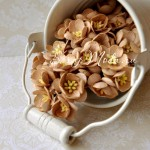 Цветы вишни бежевые с тычинками, 25 мм., 5 шт., UC000244