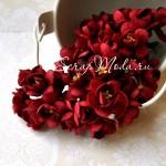 Цветы Вишни Burgundy с тычинками, 25 мм., 5 шт., UC000245