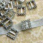 Пряжка для лент Квадратная 495, серебро, пластик,  20 мм., цена 1 шт.