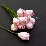 Тюльпаны с листиками на проволоке, нежно-розовый, цена за 5 шт., UC000655