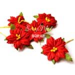 Пуансетия красная, с жёлтыми тычинками,  30 мм., 1 шт., UC000767