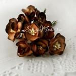 Цветы Вишни с тычинками, коричневые с шоколадным краем, размер:25 мм., 5 шт., UC001032