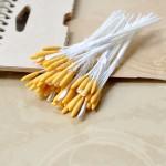 Тычинки матовые односторонние, на белой ножке, 7 шт., желтые