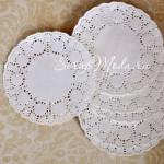 Бумажная Ажурная Салфетка, диаметр 100 мм., белые, 10 шт., UC001537