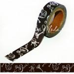 Декоративный Бумажный Скотч с принтом - Ключики, Ширина 15 мм, 5 метров в рулончике, Цена за 1 шт. SCB 139015. ScrapBerry's