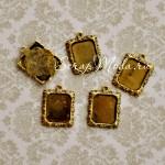 Подвеска Рамочка Прямоугольная для Кабошона 1833, золото, металлическая, размер 19х22 мм., цена за 1 шт.