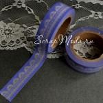 Декоративный Бумажный Скотч с Узором 1907, Прозрачный Узор на Синем фоне, ширина 15 мм, 10 метров в рулончике, цена за 1 шт.