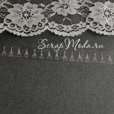 Декоративный Прозрачный Скотч Эйфелева Башня 1918, принт белый, ширина 15 мм, 10 метров в рулончике, цена за 1 шт.