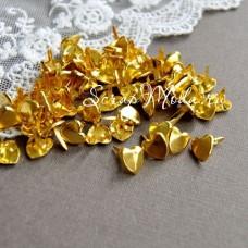Набор Mini Брадс золотые Сердечки, 9 мм., цена за 10 шт., 91033, Creative Impressions UC001954