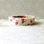 Декоративный  Тканевый Скотч, Малиновые ягодки цветы на белом фоне, ширина 15 мм, 5 метров в рулончике, цена за 1 шт. UC001967
