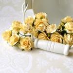 Розочка, цвет:кремовый, на проволоке, размер:20 мм, цена за 5 шт., UC002081