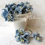 Лилия голубая с тычинками на проволоке, 50 мм, цена за 1 шт., UC002084
