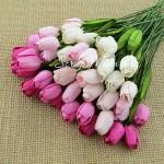 Тюльпаны с листиками на проволоке, MIX розовый, длина бутона 20 мм., цена за 5 шт., UC002092