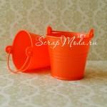 Декоративное ведерко ярко-красное, 2125, пластик, размер 50х55 мм., цена за 1 шт.