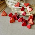 Набор Брадс Сердечки Красные, размер 9 мм и 11 мм., 20 шт., UC002144