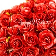 Розочка на проволоке, Красная, 15 мм., цена за 5 шт., UC002909