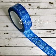 Декоративный Бумажный Скотч с принтом, орнамент цветочек на синем фоне,  ширина 15 мм, 10 метров в рулончике, цена за 1 шт., UC002339