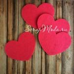 Сердечко из фетра, ярко розовое, размер 11х90 см., UC002375