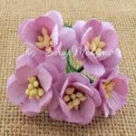 Цветы Вишни лавандовый цвет с тычинками, 25 мм., 5 шт., UC002443