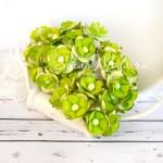 Мини цветы с тычинкой салатовый, на проволоке, 15 мм., 10 шт., UC002446