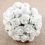 Роза кудрявая белая,  30 мм, цена за 1 шт., UC002504