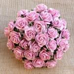 Роза розовая, на проволоке, 20 мм, цена за 5 шт., UC002721