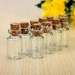 Стеклянная  бутылочка с пробкой, 1 мл., 12х25 мм, цена за 1 шт., UC002558