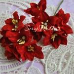 Лилия  красная с тычинками на проволоке, 50 мм, цена за 1 шт., UC002596