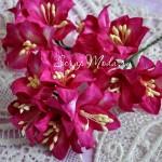 Лилия  малиновая с тычинками на проволоке, 50 мм, цена за 1 шт., UC002597