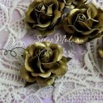 Роза золотая на проволоке, 50 мм, цена за 1 шт., UC002601