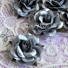 Роза серебрянная на проволоке, 50 мм, цена за 1 шт., UC002602