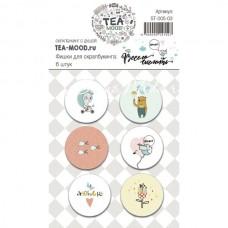 """Набор фишек  """"Весело шагать"""", в наборе 6 штук,  диаметр 2,5 см,  TEA-MOOD, UC002620"""