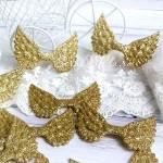Крылья ангела тканевые, глитерные, золото, 50х33 мм., цена за 1 шт.,  UC002655