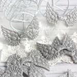 Крылья ангела тканевые, глитерные, серебро, 50х33 мм., цена за 1 шт.,  UC002656