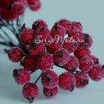 Ягодки на проволоке, обсыпанные, бордовые, ягодка 12 мм., UC002660