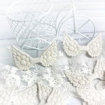 Крылья ангела тканевые, глитерные, белые, 50х33 мм., цена за 1 шт.,  UC002657