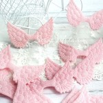 Крылья ангела тканевые, глитерные, розовые, 50х33 мм., цена за 1 шт.,  UC002658