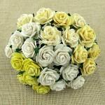 Роза, MIX кремово-желтый,  20 мм, цена за 5 шт., UC002672